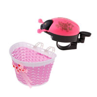 Children Kids Bike Flowery Front Basket Bicycle Shopping Stabilizers + Bell