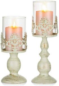 2 Set Kerzenhalter Vintage Kerzenständer Glaszylinder Metallteller Hochzeitdeko