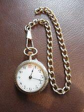 Ladies Hallmarked Silver Crown Wind Fob Pocket Watch On Chain