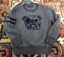 Polo Ralph Lauren Boys Gray Bulldog Sweater Wool Blend Sz 4