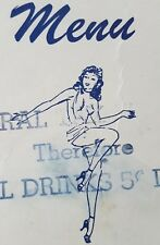 CARNIVAL CAFE * Scollay Square * Boston * GIRLY * Nudie * TITTIE Bar * 1945 Menu