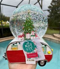 Merry Christmas Tree Snow Globe Vintage Trailer Camper Home Decor Water Dome
