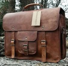 """Men's Genuine Vintage Leather 15"""" Messenger Laptop Briefcase Satchel Brown Bag"""