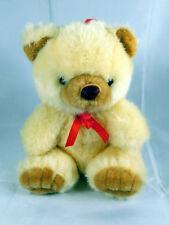 "Paul Hamburg Teddy Bear Cream & Brown w Red Ribbon 9"" Tall"