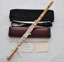 Professional New Wooden Flute Boxwood Material 17 Hole Silver key B Foot NewCase