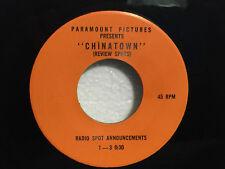 Radio Spot 7 Inch Vinyl Record 45RPM - Chinatown 1974 - J Nicholson - NONE EXIST