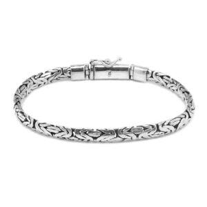 Bali Handmade 4 mm  BYZANTINE Chain Bracelet in 925 Sterling Silver