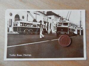 Vintage RP Postcard Trolley Buses Hastings  tram