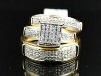 14K Yellow Gold Over Round Cut Diamond Engagement Bridal Wedding Ring Trio Set