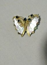 "VINTAGE ""SIGNED WESTERN GERMANY""  MOTHER OF PEARL BUTTERFLY BROOCH PIN"