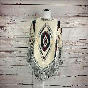 World Market Aztec Fringe Poncho Sweater Sz OSFM Cream Black Southwestern Knit