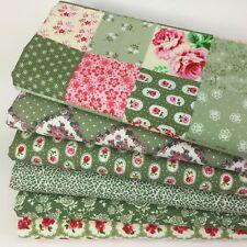 Bundle 6 fat quarters pretty patchwork green & florals 100 % cotton fabric