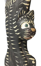 Carved Folk Art Hunched Black Cat Sculpture Wooden White Stripes Unknown Artist
