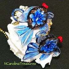 GOLDFISH FANTAIL FISH BLUE FLORAL GLASS CEILING FAN SWITCH PULL LARGE PAIR F129