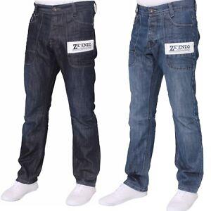 New Mens Enzo Jeans Straight Leg Regular Fit Dark Mid Wash All Waist Sizes