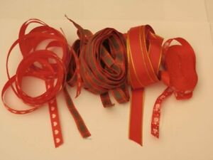 Four lots  assorted red ribbons various lengths & designs - craft room clear out