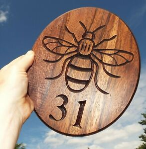 Manchester Bee House Number Sign, personalized, outdoor, carved, wooden, plaque