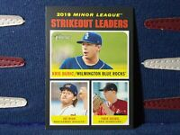 Kris Bubic 2020 Topps Heritage Minors 189 Strikeout Leader Wilmington Blue Rocks