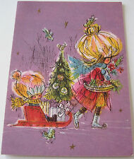 Used Vtg Christmas Card Girl Pulling Sled Girl & Tree on Sled w Presents