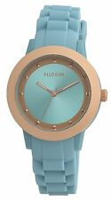 Pilgrim Jewellery stylish blue & rose gold silicone ladies watch in gift box