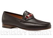 GUCCI mens 11.5 D* brown leather WEB ribbon HORSEBIT Loafers shoes NIB Authentic