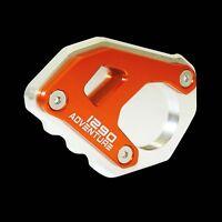 Orange Cover Kickstand Side Stand Extension Silver Fit 15-18 KTM 1290 Super ADV