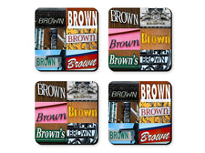 Personalized Coasters featuring the name BRUCE in photos of signs - Set of 4