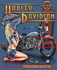 Harley Davidson Motorcycle Oil Man Cave SIGN Pinup Girl 2 8X10 Photo Photograph