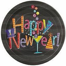 """New Years Eve Party Supplies """"Happy New Year"""" Printed Party Plates 8pk 23cm"""