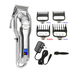 All metal Barber Professional Hair Clipper Electric Cordless LCD Trimmer Silver