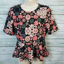 H&M Floral Textured Peplum Top Shirt Short Sleeves Women's/Juniors Size Medium
