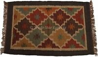 Vintage Kilim Rug Hand Woven Floor Mat 2x3 Feet Area Rug Indian Dhurrie Rugs