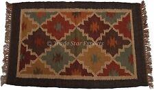 2X3 Feet Kilim Rug Hand Woven Floor Mat Vintage Area Rug Indian Dhurrie Rug Art