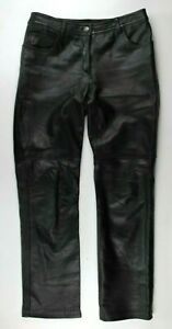 Rampage Women's 100% Leather Pants Motorcycle Biker Straight Leg Black 9
