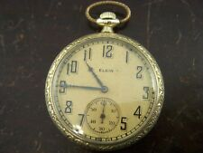 Vintage Original 1926 Elgin 12s 15j Open Face Gold Tone Pocket Watch Running