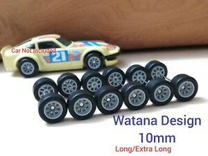 CUSTOM 1/64 Watana Rubber Tires Wheels Hot Wheels Nissan Fairlady 10mm 3 sets