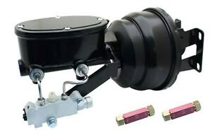 """1958-70 GM Black Out Series 8"""" Dual Pwr Booster & Oval Master Kit Drum Brakes"""