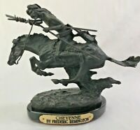 "Frederic Remington Bronze Statue Cheyenne Signed 7 3/8""H x 8.5""L Base Vintage"