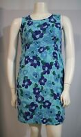 Coldwater Creek Misses 14 Blue Floral Rayon Scoop Neck Sleeveless Casual Dress