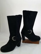 Donald J Pliner Boots Black Biker Punk Italian Suede Leather SZ 7M