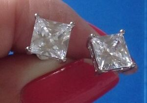 18K White Gold 7mm Square Solitaire Stud Earrings 341