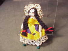 "Adorable Vintage Tiny Hand-Made Spanish Lady Doll - 3"" - Lace, Ribbon, Yarn,Wire"