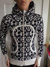Lululemon Size 4 Scuba Hoodie Zip Up Jacket White Black Purple IKAT Thumbholes