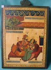 VINTAGE WOODEN SLATE RARE MINIATURE PAINTING OF INDIAN ROYAL KING QUEEN RELAXING