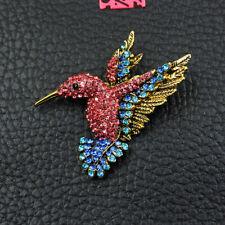 Hummingbird Rhinestone Woman Brooch Pin Betsey Johnson Vintage Pink Crystal Gold