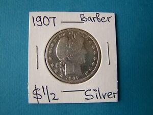 US COINS 1907 YEAR BARBER HALF DOLLAR NICE SILVER COIN
