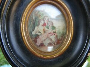 Miniature French Children Trio early 1800's Painted on Wafer Antwerp Framer