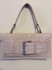 Women's NWOT Tosca Blu Reptile Skin Designed Leather Silver & Pink Handbag