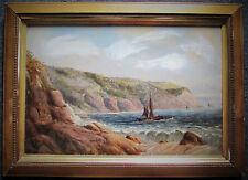 SIDNEY YATES JOHNSON - SEASCAPE VIEW - ORIGINAL OIL PAINTING - FREE SHIP US