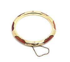 Rare Vintage Old Chinese ORANGE RED Tube JADE 14k Gold Filigree Bangle Bracelet